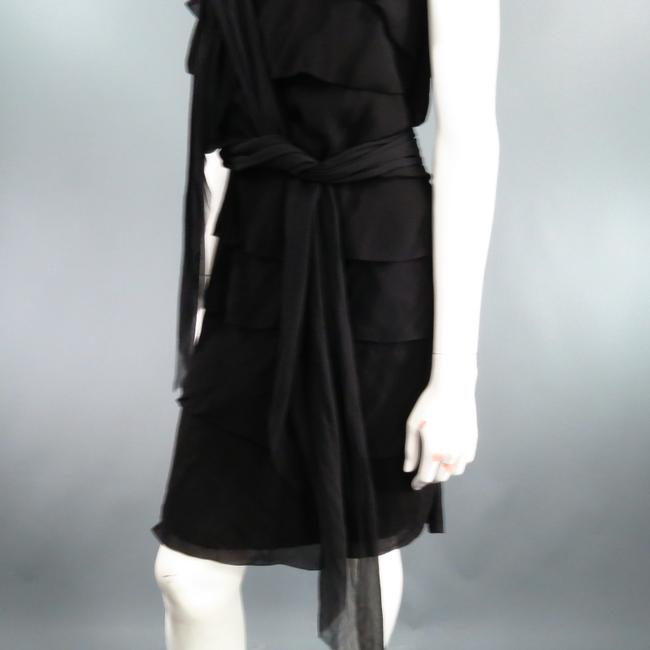 Lanvin Silk Tiered Ruffle Draped Dress