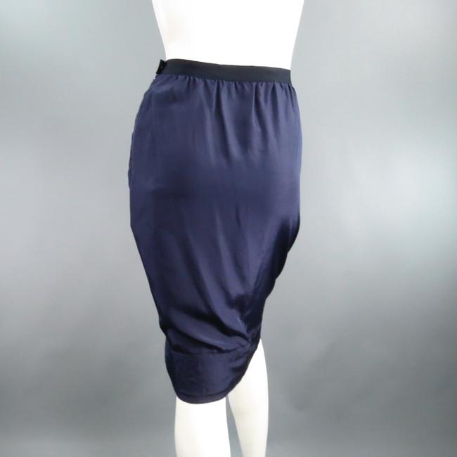 Lanvin Silk Ribbon Raw Hem Pencil Skirt Navy