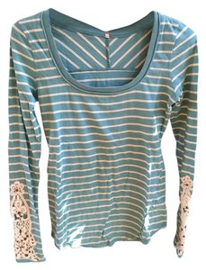 Free People Hard Candy Cuff Toosaloosa Tee Teal Blue Sz 4 Xmall Sweater