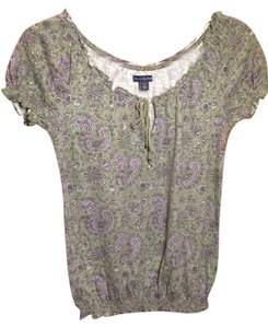 American Eagle Outfitters Top Green print peasant shirt