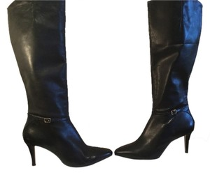 Cole Haan Body Black leather embossed heels new knee Boots