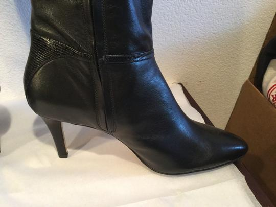 Cole Haan Body Some Stretch NEW Black leather embossed heels new knee Boots
