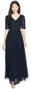 Adrianna Papell Short Sleeve Beaded Mesh V-neck Gown Dress