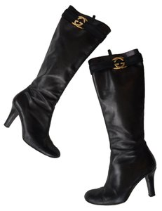 Gucci Monogram Leather Knee-high Black leather Boots