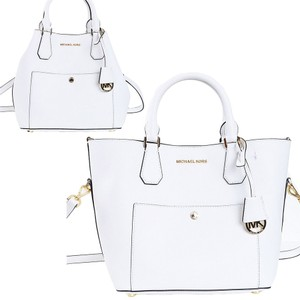 Michael Kors 30s5ggrt7u Convertible Crossbody Shoulder Mk Outside Pockets Tote in Optic White
