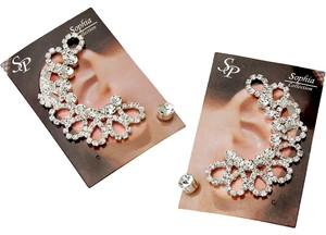 Sophia Collection New Cute Trendy Fashion Jewelry Silver Rhinestone Crystal Ear Cuff Ear Crawler