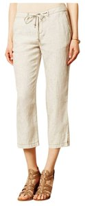Anthropologie Linen Pinstripe Beach Pants Crop Capris Neutral Ivory