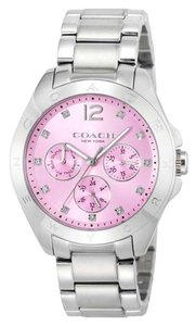 Coach Coach Tristen 14502236 Silver Stainless Pink Dial Chronograph Watch