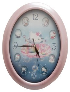 Hello Kitty Hello Kitty Pink Oval Wall Clock Analog Collectible Home Decor