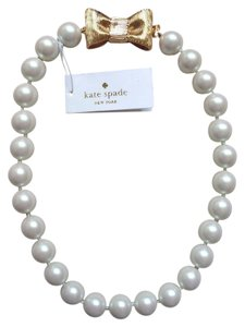 Kate Spade Classic & Iconic Kate Spade All Wrapped Up Pearl Necklace with 12K Gold Plate Kate Bow Clasp - Immortal Stylish Classic!
