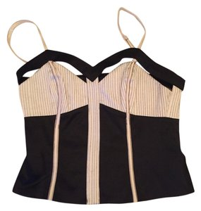 bebe Black and white stripe Halter Top