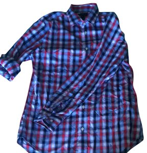 Banana Republic Button Down Shirt Blue Red White