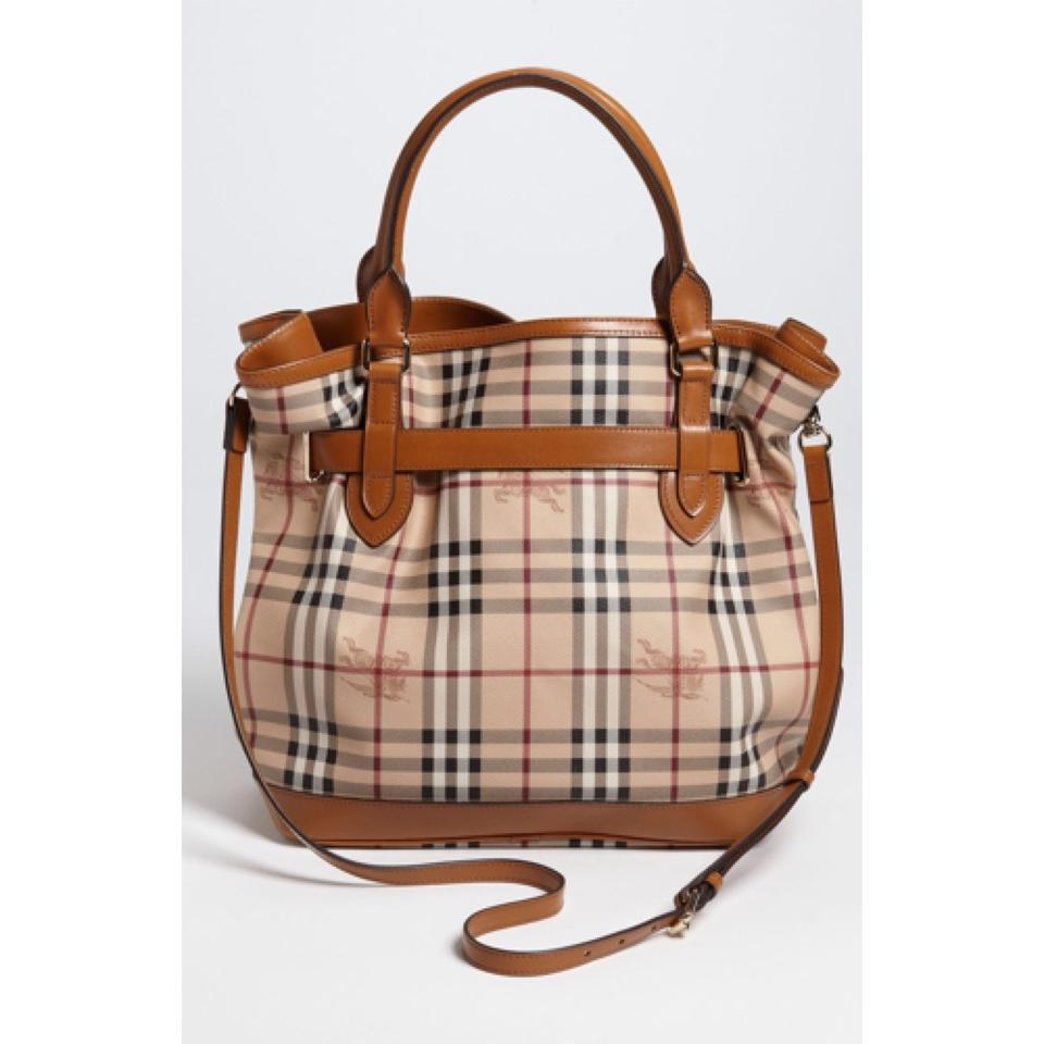 Burberry Haymarket Check Medium Golderton Tote Brown Pvc Coated Canvas and  Leather Hobo Bag e42d62741a2be