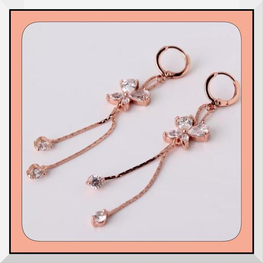 Other Brand New Rose Gold Filled Butterfly CZ Drop/Dangle Earrings Image 1