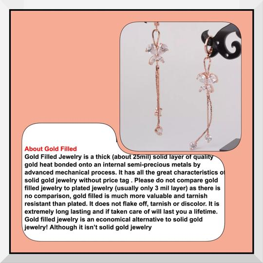 Other Brand New Rose Gold Filled Butterfly CZ Drop/Dangle Earrings Image 3