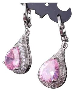 Other Brand New Pink Topaz & White Gold Filled Pear Shape Earrings