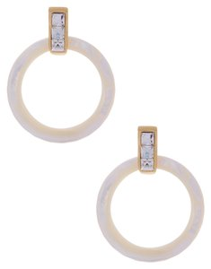 Rachel Zoe Rachel Zoe Mother of Pearl and Crystal Gold Hoop Earrings