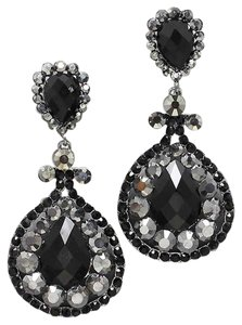 Black Hematite Crystal Chandelier Drop Clip On Earrings