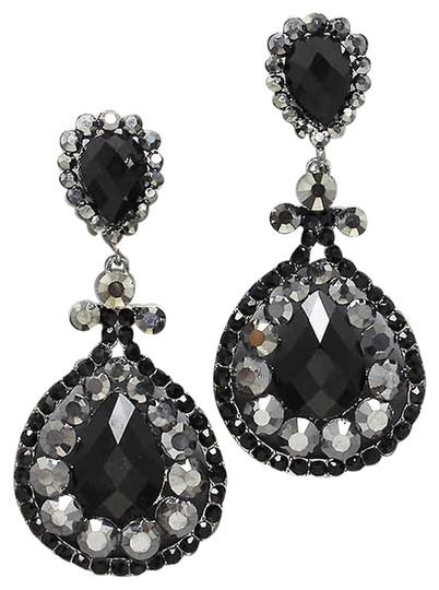 Other Black Hematite Crystal Chandelier Drop Clip On Earrings