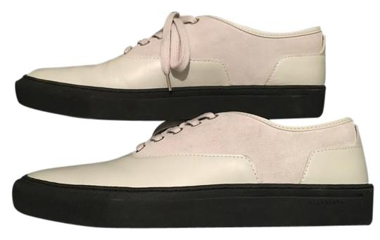 AllSaints Brand New Leather Lowtop Mens Laceup Mens Casual Footwear Off White/Light Gray Formal