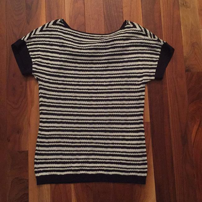 The Limited Blue Stripes Top Navy and white