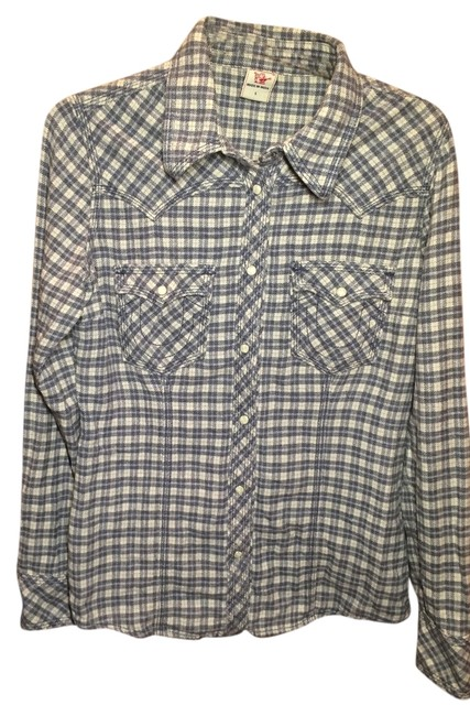 Preload https://item4.tradesy.com/images/true-religion-bluegrey-plaid-flannel-western-button-down-top-size-12-l-5872723-0-0.jpg?width=400&height=650