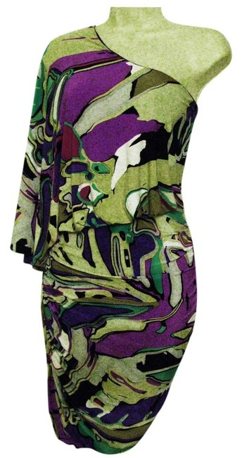 Nine West short dress Multi-Color One-shoulder Stretchy Ruched Straight Pencil Skirt on Tradesy