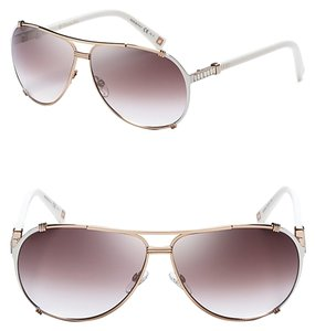 Dior Dior 'Chicago 2 Strass' 63mm Aviator Sunglasses Rose Gold Ivory Strass/Brown Violet Shaded