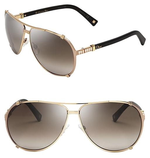 Dior Dior 'Chicago 2 Strass' 63mm Aviator Sunglasses Gold Black Strass/Dark Brown Shaded
