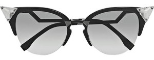 Fendi 0041/S Crystal 52mm Tipped Cat Eye Sunglasses Black Ruthenium/Grey Gradient