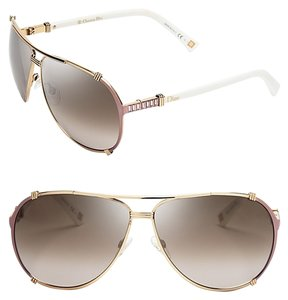 Dior Dior 'Chicago 2 Strass' 63mm Aviator Sunglasses Gold Pink White Strass/Dark Brown Shaded