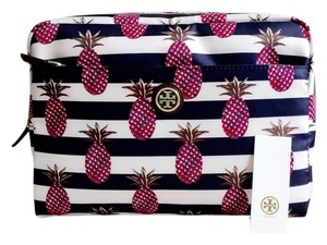 Tory Burch NEW Tory Burch Printed Nylon Large Beauty Bag with a colorful pineapple pattern