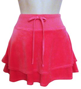 Juicy Couture Tiered Drawstring Waist Velour Mini Mini Skirt Pink