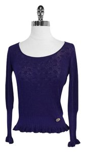 Roberto Cavalli Purple Knit Sweater