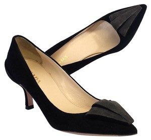Prada Black Gray Suede Pointed Toe Pumps