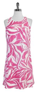 Lilly Pulitzer short dress White Pink Sequin Sleeveless on Tradesy