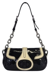 Prada Black Cream Patent Leather Shoulder Bag