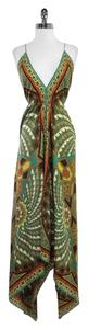 Maxi Dress by Nicole Miller Multi Color Print Silk