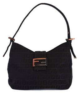 Fendi Chocolate Brown Canvas Monogram Baguette