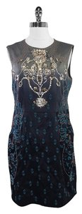 Nanette Lepore short dress Grey Teal Embelished Silk Sleeveless on Tradesy