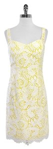 Badgley Mischka short dress White Yellow Lace Overlay on Tradesy