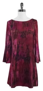 Alice + Olivia short dress Fuschia Maroon Print Silk on Tradesy