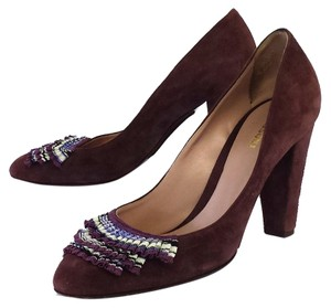 Missoni Plum Suede Embellished Pumps