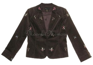 Grace Elements Corduroy Embroidered Floral Ditsy Embroidery Brown, Orange, Pink Blazer