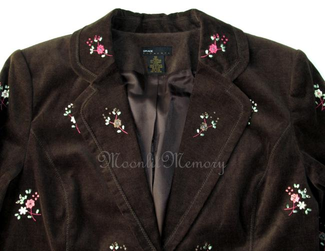 Grace Elements Corduroy Embroidered Floral Ditsy Embroidery Brown, Orange, Pink Blazer Image 1