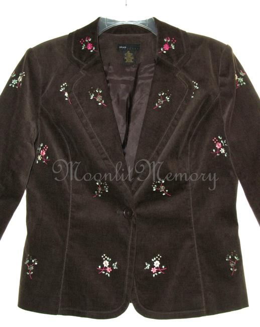 Grace Elements Corduroy Embroidered Floral Ditsy Embroidery Brown, Orange, Pink Blazer Image 2