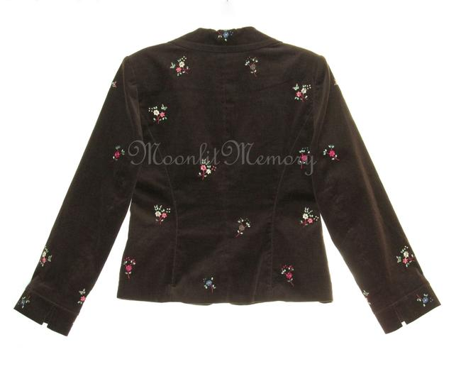 Grace Elements Corduroy Embroidered Floral Ditsy Embroidery Brown, Orange, Pink Blazer Image 3
