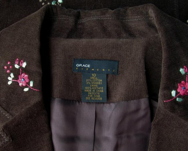Grace Elements Corduroy Embroidered Floral Ditsy Embroidery Brown, Orange, Pink Blazer Image 4
