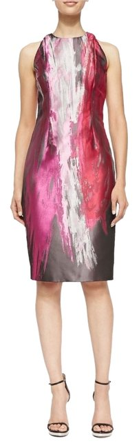 Carmen Marc Valvo Sheath Sleeveless Printed Colorful Occasion Fitted Knee Length Jewel Round Dress