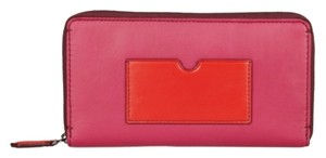 Reed Krakoff Large Fuchsia Crimson Colorblock Zipped Multifunctional Wallet